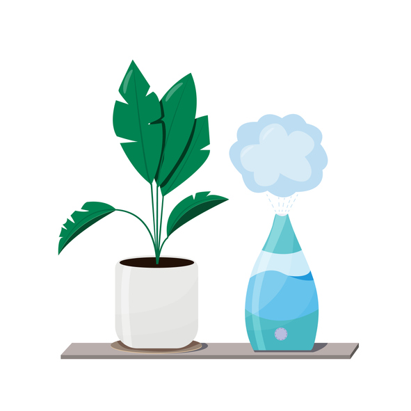 Humidifier and plants Equipment for home or office. air purifier in the interior vector illustration with house plant . Air cleaning and humidifying devise for the house.